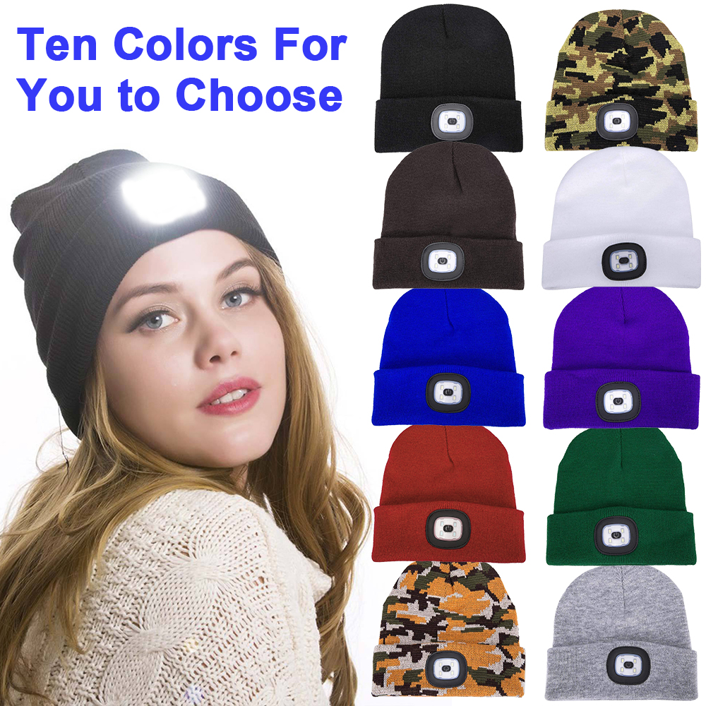 Unisex Winter Hats LED Light-up Headlamp Hats Soft Knitted Warm Beanie Headlight Hats For Women Fishing Hunting Camping Climbing