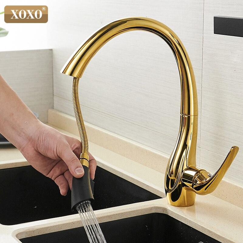 XOXO Küche Wasserhahn Ziehen Kalt und heißer Goldene Küche Hahn Einzigen Handgriff 360 Grad Wasser Mischbatterie Torneira Cozinha 83038