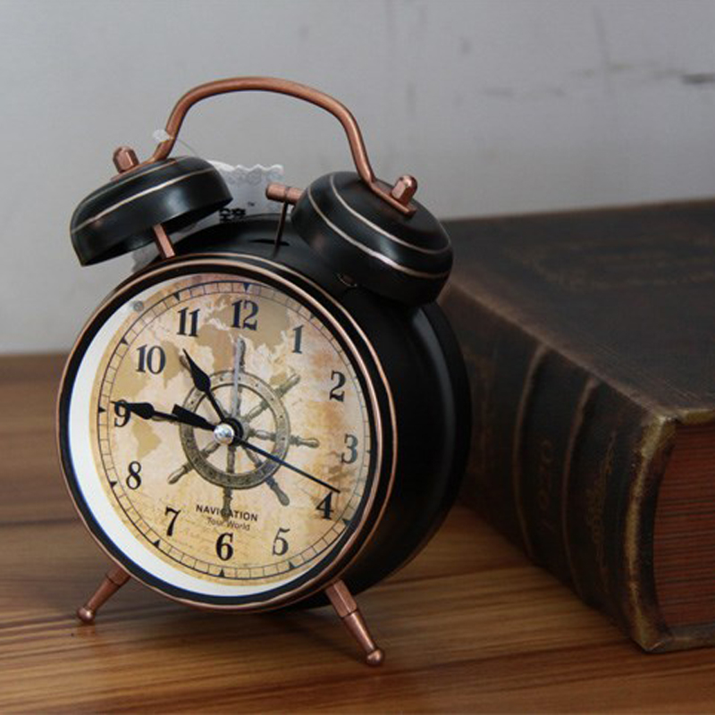 3 or 4 inch Non Ticking Twin Bell desktop Retro Vintage Style analog quartz movement Alarm Clock With Battery Power Loud Alarm