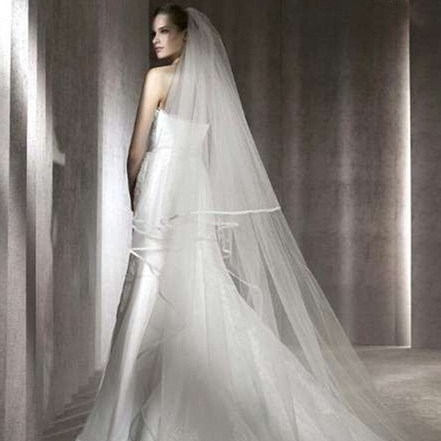 Romantic 3 M Cathedral Wedding Veil 2 Layeres Long Bridal Veils With Comb Ribbon Edge Woman Marry Gifts 2019 New Accessories