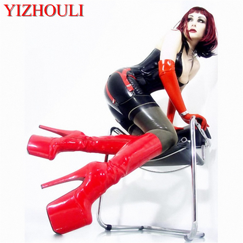 20cm high-heeled shoes japanned leather knee-high Dance Shoes 8 inch With Platforms Pole dancing shoes 20cm pole dancing sexy ultra high knee high boots with pure color sexy dancer high heeled lap dancing shoes