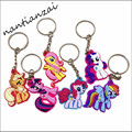 1PCS My Cute Little Horse Keychain Poni Key Chains Rarity Fluttershy Dash Keys Chain keyring Hair bands kids gift
