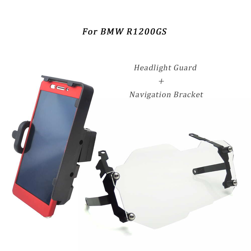 For BMW R1200GS Headlight Guard Protector Lense Cover Adventure Adv motorcyle mobile phone navigation bracket usb charge mount