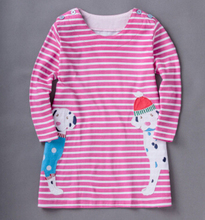 2016 new fashion summer striped girl dress cartoon very soft cotton material