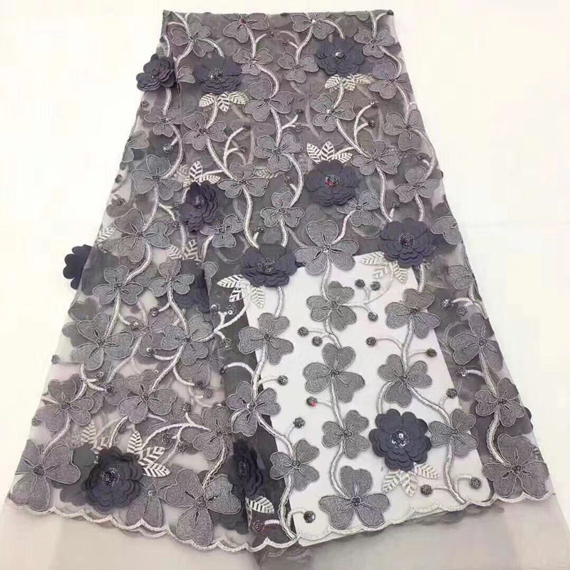 (5yards/pc) wonderful embroidered African net lace grey French lace fabric with 3D flowers and sequins for party dress FLC881(5yards/pc) wonderful embroidered African net lace grey French lace fabric with 3D flowers and sequins for party dress FLC881