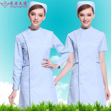 2019 sjukhus medicinska skrubber kläder fashionabla design tunn passande tandskrubb långärmad övergripande läkare unform vit duk