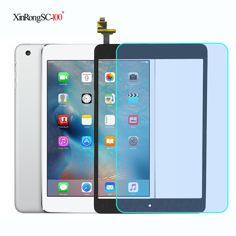 For IPad Mini 1 Mini 2 Mini1 Mini2 A1432 A1454 A1455 A1489 A1490 A1491 Touch Screen Digitizer+IC Chip Connector Flex+Key Button(China)