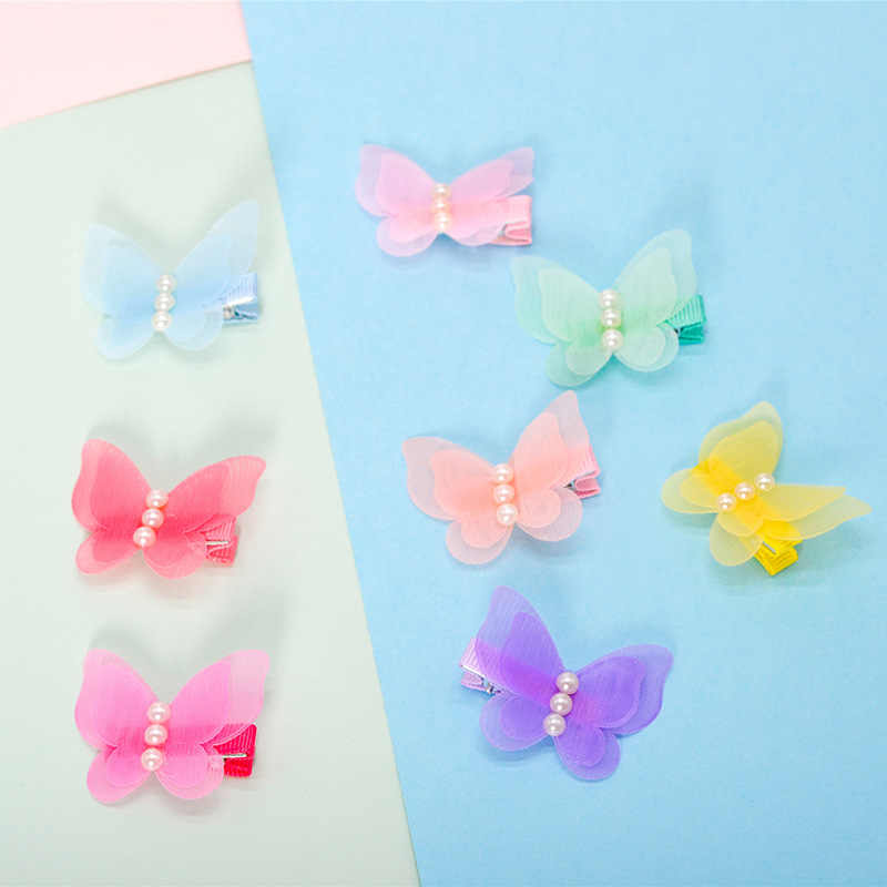 Korean children's hair adornments lovely pearl chiffon butterfly hairpin clip girl's wrap cloth edge clip baby's head ornament