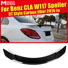 купить For Mercedes Benz CLA-W117 CLA180 CLA200 CLA250 Rear Spoiler RT Style Carbon Fiber Rear Frunk Spoiler Wing car styling 2014-2018 в интернет-магазине