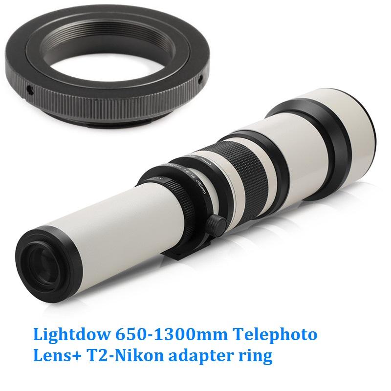 Lightdow 650-1300mm F8.0-F16 Super Telephoto Manual Zoom Lens+T2-Nikon for Nikon D3100 D30 D5000 D5100 D50 D7100 DSLR Camera 1
