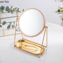 Makeup Mirror Dressing-Table Desktop-Decoration Bedroom Metal Retro Creative Glass Lace