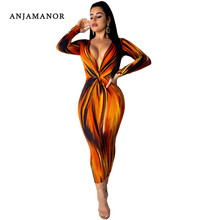 a257e0ec69c7 ANJAMANOR Sexy Orange Print Long Sleeve Deep V Neck Maxi Bodycon Dress 2019  Spring Women Clothes