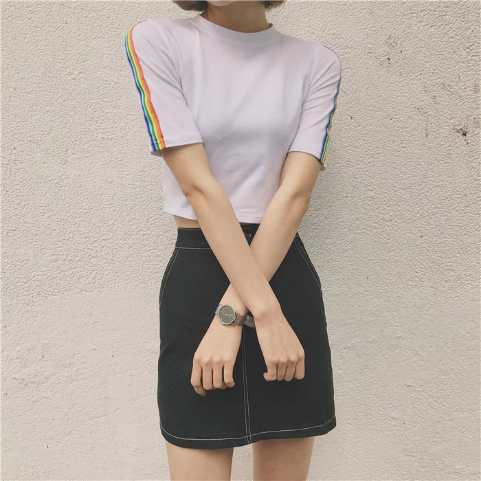 Harajuku 2018 Summer Tee Shirt Korean Ulzzang Harajuku Rainbow Striped Short-sleeved T-shirt Women Casual White T-shirt Tops