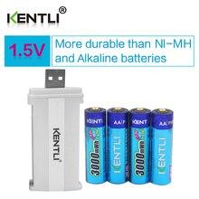 Li-bateria de Polímero Lítio plus 1 Kentli 4 Pcs Baixa Auto Descarga 1.5 V 3000mwh AA Recarregável de Li-ion Bateria Polímero Usb Carregador Inteligente