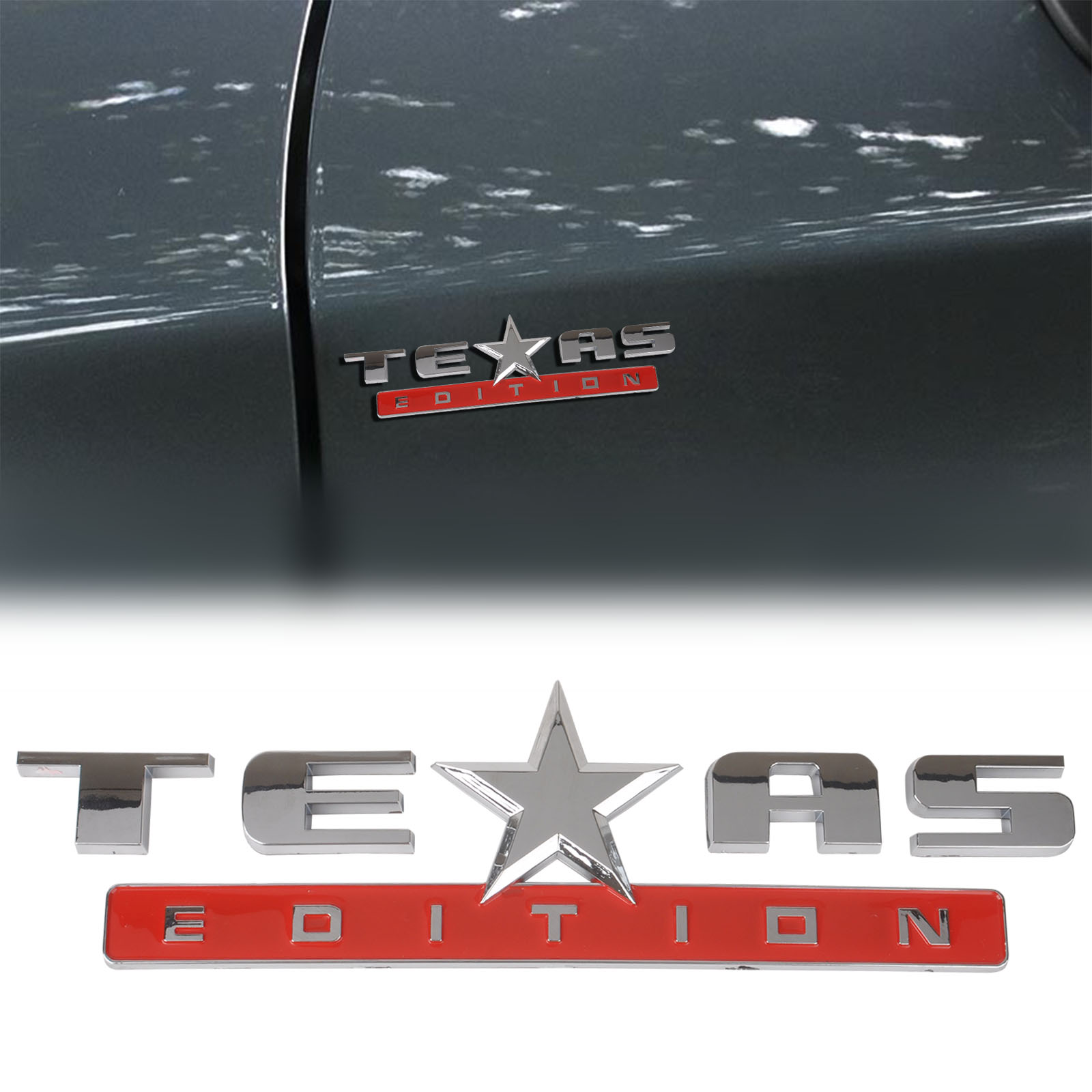 Mayitr high quality abs texas edition car emblem badge sticker decal for chevrolet chevy silver red
