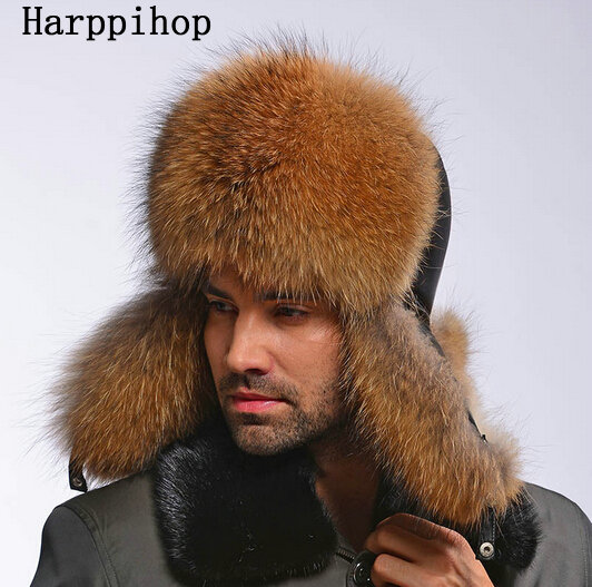 2017 Best Quality Natural Colour Men Winter Genuine Raccoon Dog Fur Hats Clear-Cut Texture