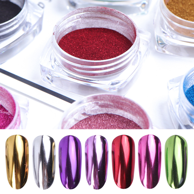 1 caja de oro rosa espejo polvo uñas purpurina púrpura azul plata Holo cromado uñas pigmento perla polvo decoración manicura LAC /ASX