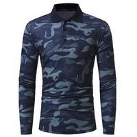 남성 긴 소매 위장 폴로 셔츠 옷깃 육군 군사 캐주얼