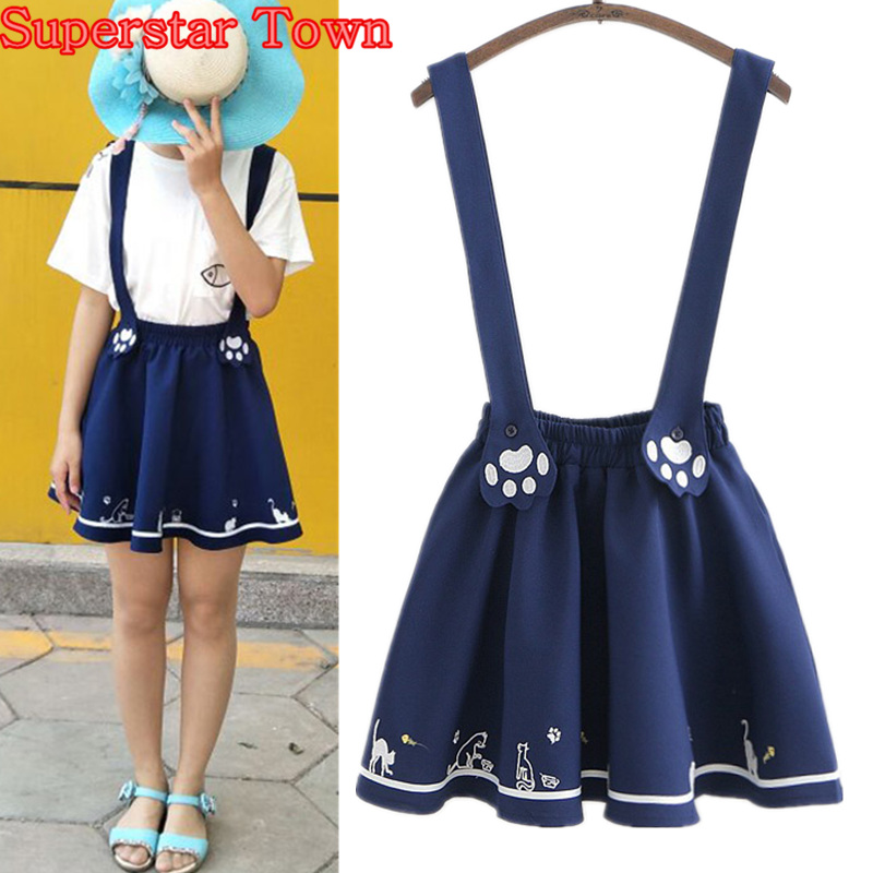Women Skirt With suspenders Kawaii Lolita Cat Suspender Skirt Summer Harajuku Mori Girl Sweet Female A Line Skirts Vestidos saia