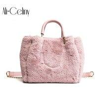 Autumn Winter Faux Fur Tote Bags Women Handbags Famous Brands Louis Handbag Fashion Style Plush Shoulder