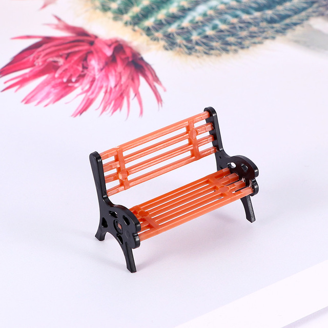 1 pc Mini Garden Ornament Miniature Park Seat Bench Craft Fairy Dollhouse Decor Micro Home Landscape Ecology Accessories 2