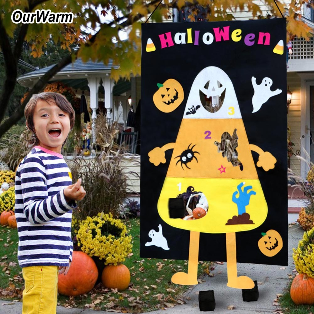 OurWarm Halloween Candy Corn Bean Bag Toss Game kids Party Supplies Felt Pumpkin Ghost Toss Indoor and Outdoor Party Game