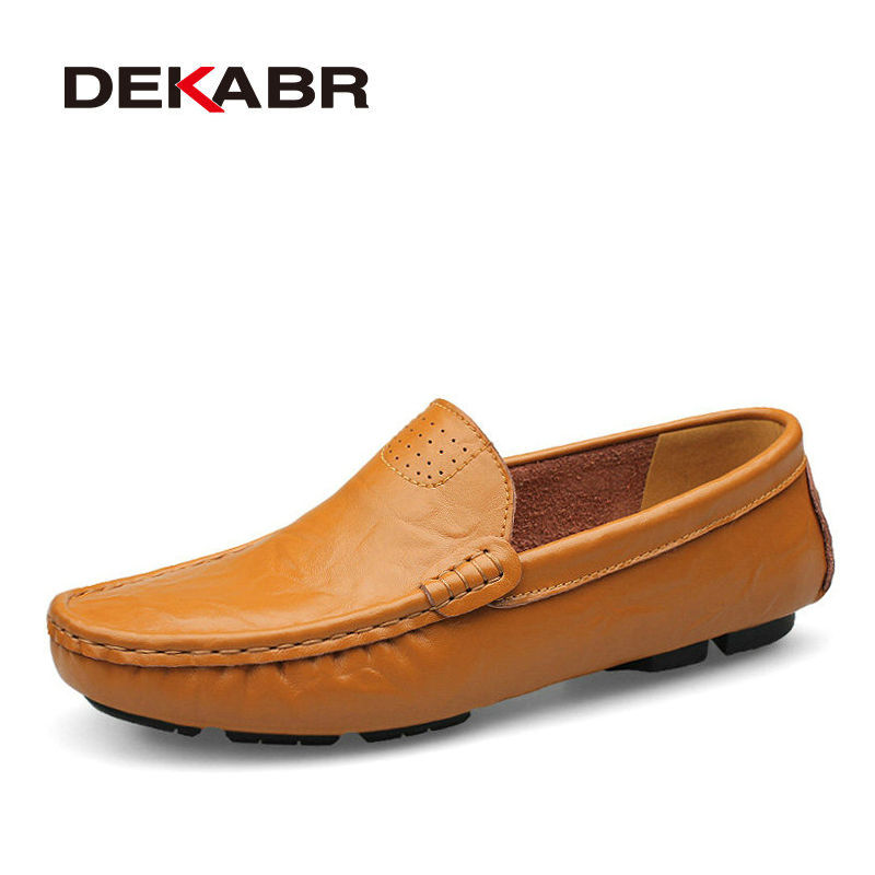 DEKABR Big Size 36~50 High Quality Genuine Leather Men Shoes Soft Moccasins Loafers Fashion Brand Men Flats Comfy Driving Shoes dekabr new 2018 men cow suede loafers spring autumn genuine leather driving moccasins slip on men casual shoes big size 38 46