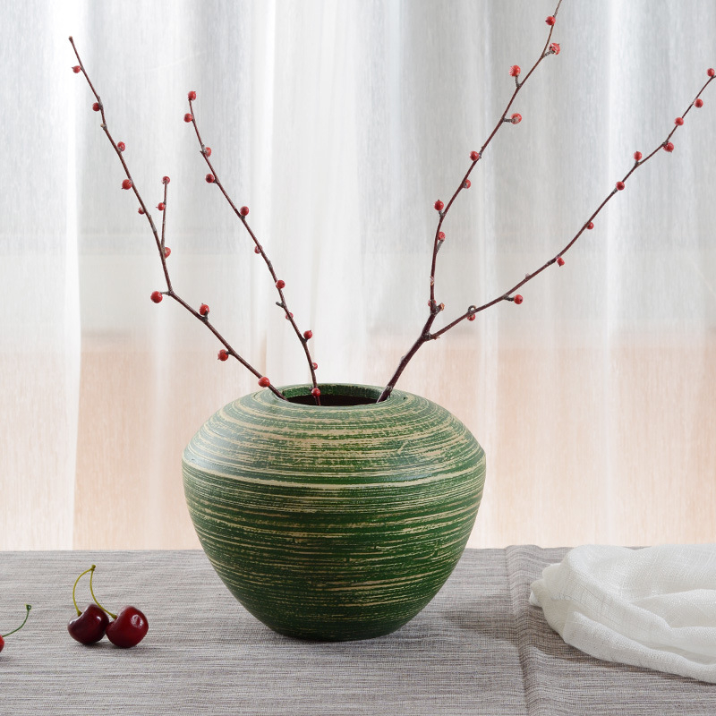 European Color plating Bamboo weaving Vase Southeast Asian style Ornament Bamboo home decoration Wood Vase bamboo table Vase