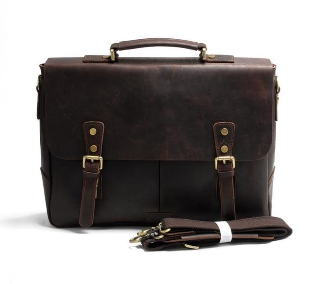 d424d77fd9 Vintage Crazy Horse Genuine Leather Men shoulder Bag Leather Messenger Bag  Men laptop bag tote Handbag male crossbody Bag Sling