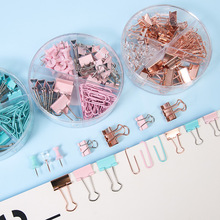 72/25/160/box Rose Gold Metal Clip Large-headed Binder Clips  Office Binding Supplies Combination Set Delicate Stationery