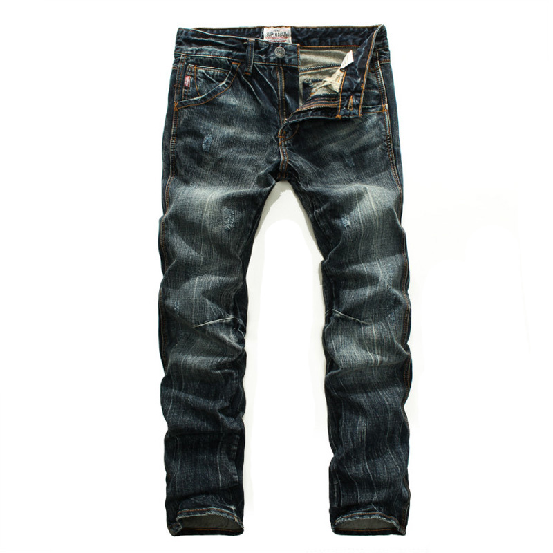 Japanese Style Fashion Men Jeans Slim Fit Cotton Denim Pants Hombre Vintage Design Ripped Jeans For Men Streetwear Hip Hop Jeans