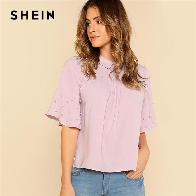 e256c790f5 SHEIN Purple Pearls Beading Ruffle Mesh Top Women Lettuce Trim Glitter  Striped Flare Sleeve Plain Blouse 2018 Elegant Blouse