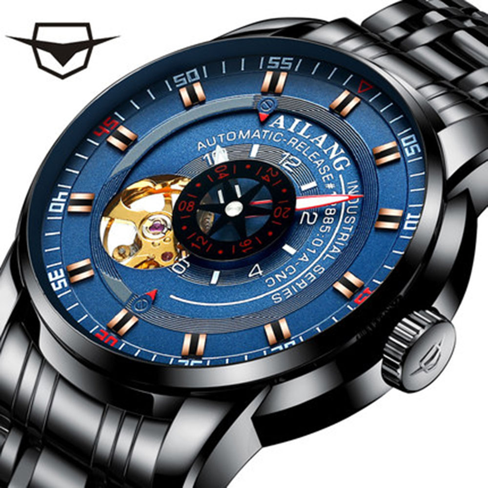 AILANG Mens Watch Luxury Brand Automatic Tourbillon Mechanical Mens Sports Watch Skeleton Full Steel Waterproof WatchAILANG Mens Watch Luxury Brand Automatic Tourbillon Mechanical Mens Sports Watch Skeleton Full Steel Waterproof Watch