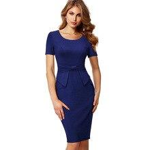32fdc48246e Women tunic bodycon peplum pencil dress Back zipper short sleeve high waist  midi dress Lady work