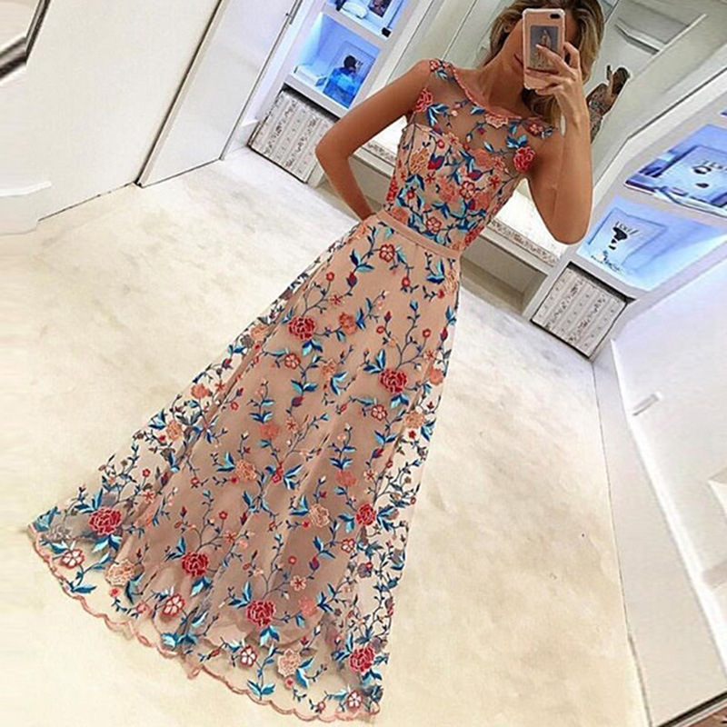 2018 Newest Fashion Maxi Dresses Womens elegant Sleeveless Tulle Gauze Flower Floral Embroidery Vintage Long Dress