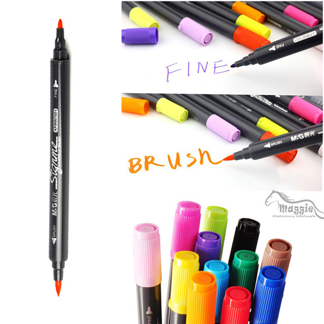Water Based Ink Twin Tip Brush And Fine Tip Sketch Marker Pen