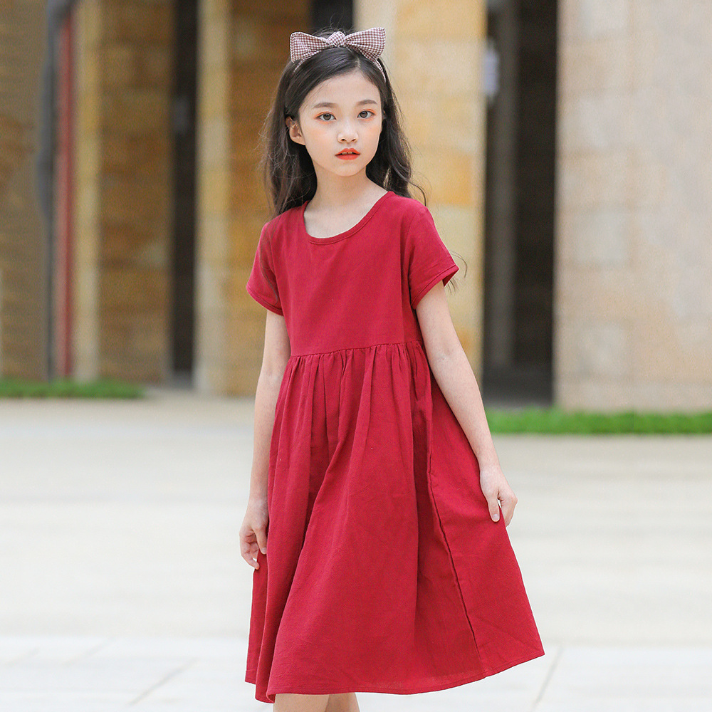 Teenage Kids Dresses for Girls Clothes Red Cotton Linen ...
