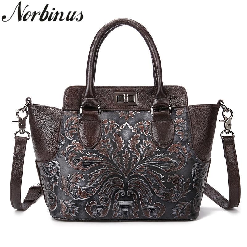 Norbinus Women Genuine Leather Handbag Luxury Embossed Flower Shoulder Bag Messenger Crossbody Bags Natural Cow Skin Female Tote все цены