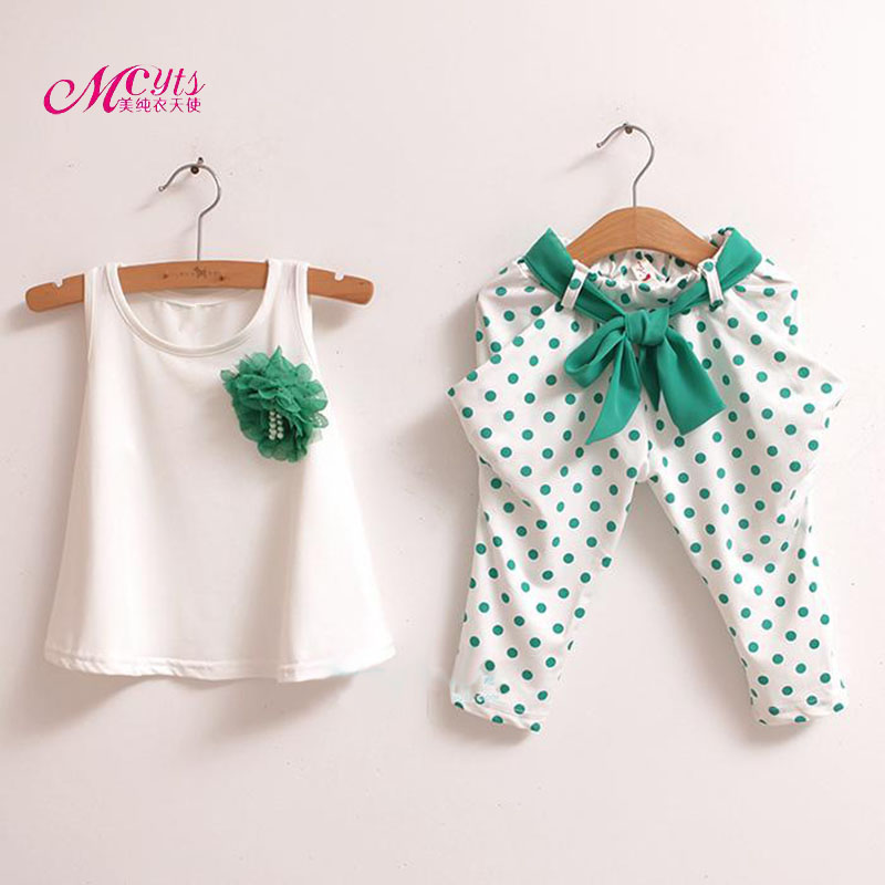 Baby Girl Suit 2018 Summer Children Clothing Set Cotton Sleeveless Vest+Shorts Sets Kids Clothes 2 3 4 5 6 7 Years Girl Clothing