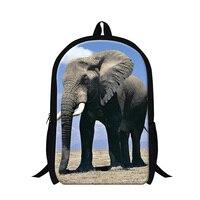 Fashion 3D Animal Print Children School Backpack Elephant College Student Casual Shoulder Book Bag Women Mens