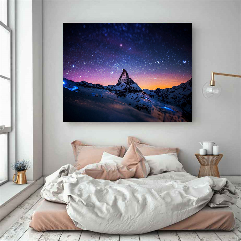Nature Moon Polar lights Space Galaxy Canvas Painting Modern Print Hanging Wall Art Canvas Picture For Living Room Home Decor