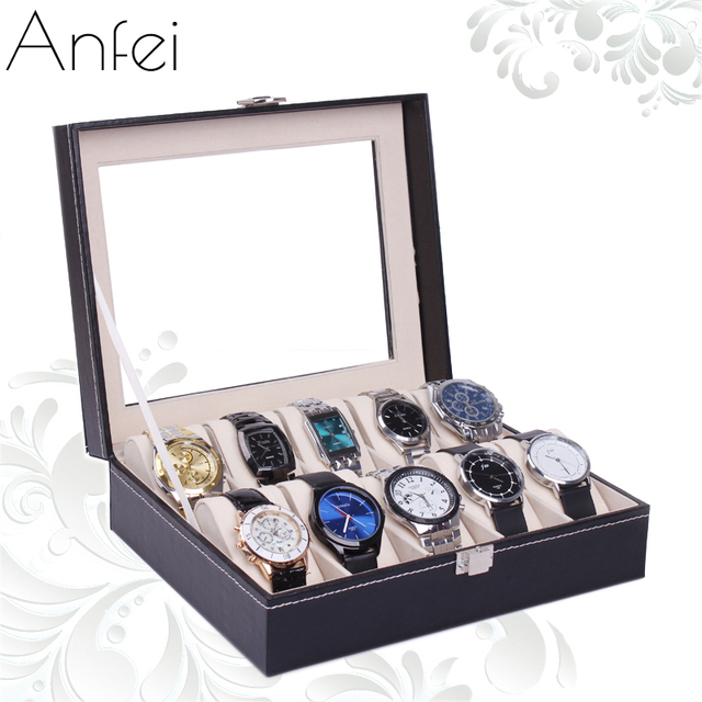 Watches Box PU Leather Box For Watches Storage Jewelry Display Watches  Organizer Display Casket Glass Lid