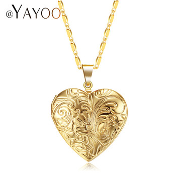 AYAYOO Necklaces & Pendants Heart Flower Locket Photo Necklace Women Choker GoldSilver Color Best Friend Long Necklace locket