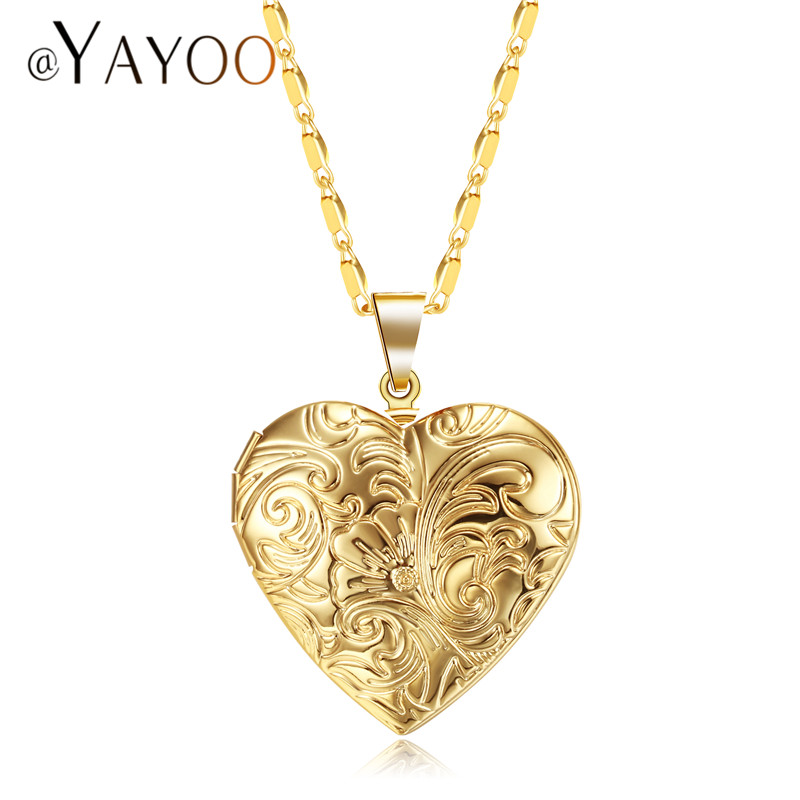 AYAYOO Necklaces & Pendants Heart Flower Locket Photo Necklace Women Choker Gold/Silver Color Best Friend Long Necklace ...