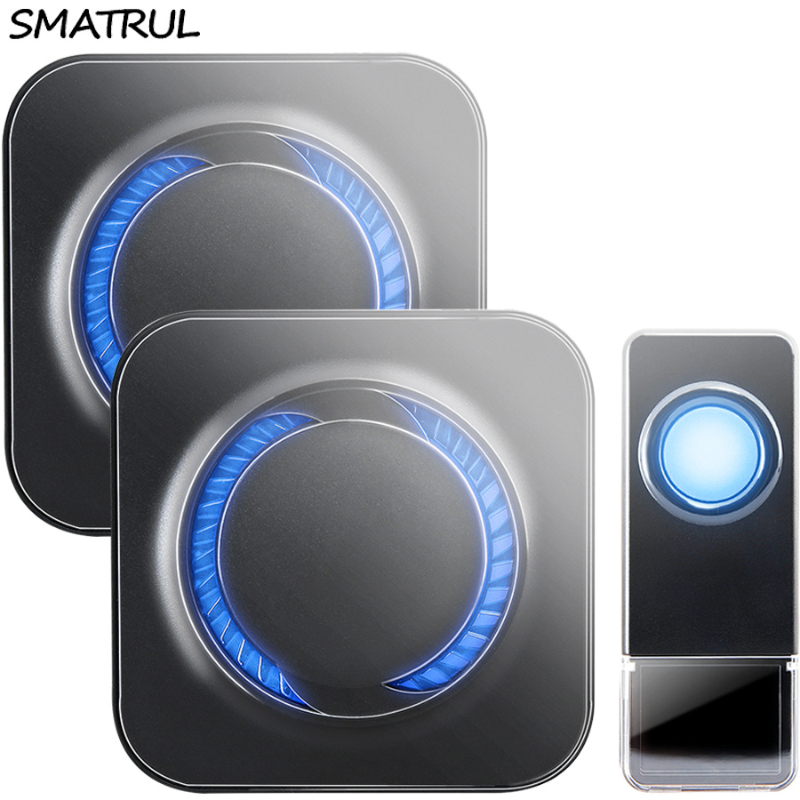 SMATRUL Waterproof Wireless Doorbell EU Plug 300M long range home Door Bell ring call 1 2 button 1 2 3 receiver LED light Deaf wireless service call bell system popular in restaurant ce passed 433 92mhz full equipment watch pager 1 watch 7 call button