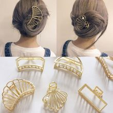 Women Ladies Minimalist Style Metal Alloy Hair Claw Glitter Gold Hollow Out Jaw Clip Cute Animal Geometric Shape Vintage Hairpin недорого