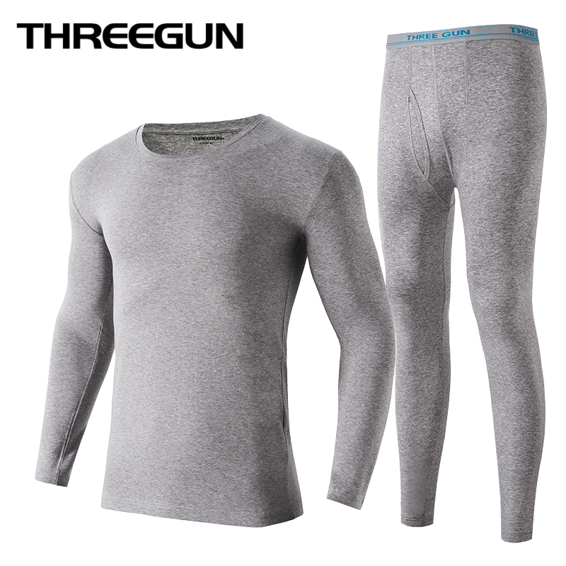 THREEGUN Thermal-Underwear Long-Johns Round-Neck Winter Warm Cotton Male Seamless Lycra