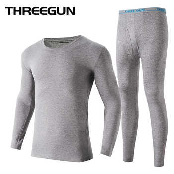 THREEGUN Lycra Cotton Long Johns Men Round Neck Thermal Underwear Breathable Winter Clothes Male Seamless Warm Bottoms Plus Size - DISCOUNT ITEM  48% OFF All Category