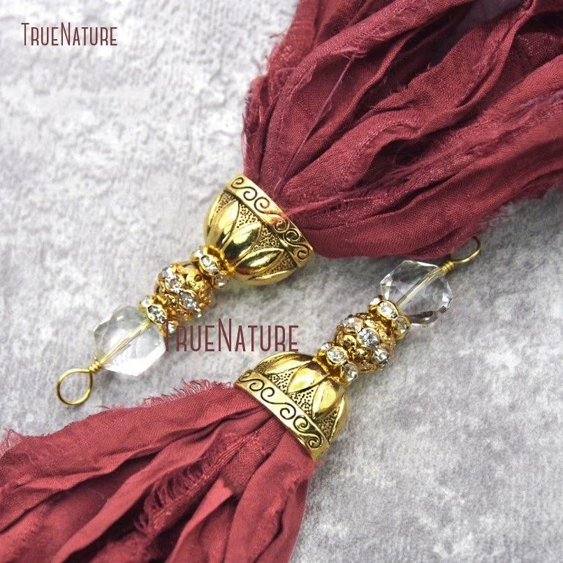 Crystal rhinestone sari silk tasselsari silk tassel necklaceblue sari silkmulti color tasselchiffon tasselcrystal tasselsari silkrts