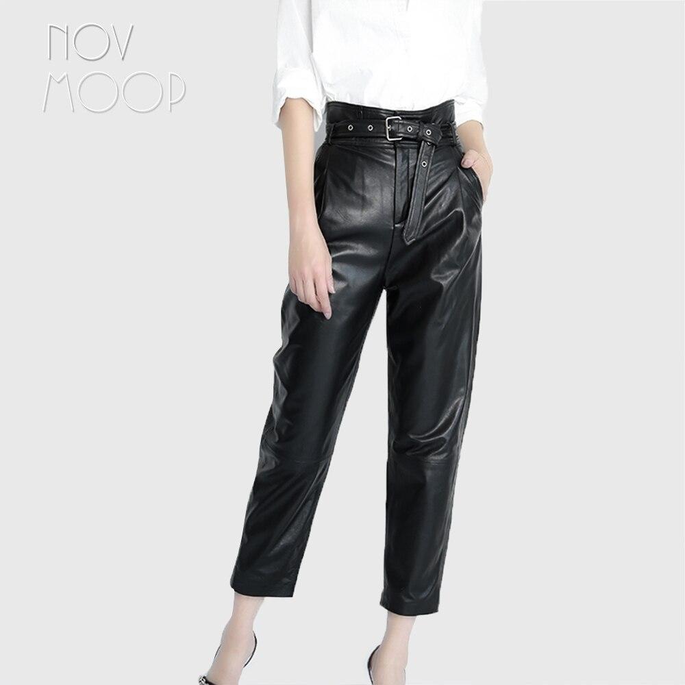 Женские черные брюки шаровары из натуральной кожи ягненка с высокой талией и репсой, брюки с поясом, укороченные брюки до щиколотки, LT2508